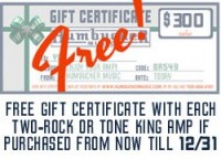 Free Gift Certificate with the purchase of a Two-Rock or Tone King Amp at Humbucker Music